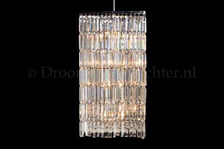 Pendant light Mira 45cm, crystal chrome 8 light chandelier