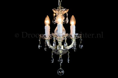 Crystal Chandelier Maria Theresa in gold 3 lights - Ø27cm