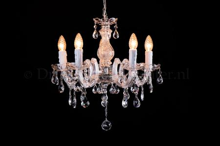Crystal Chandelier Maria Theresa in chrome 5 lights - Ø45cm