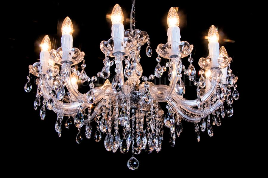 Crystal Chandelier Maria Theresa in chrome 12 lights - Ø75cm