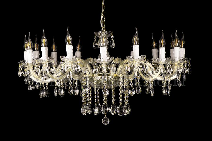 Crystal Chandelier Maria Theresa in gold 16 lights - Ø95cm