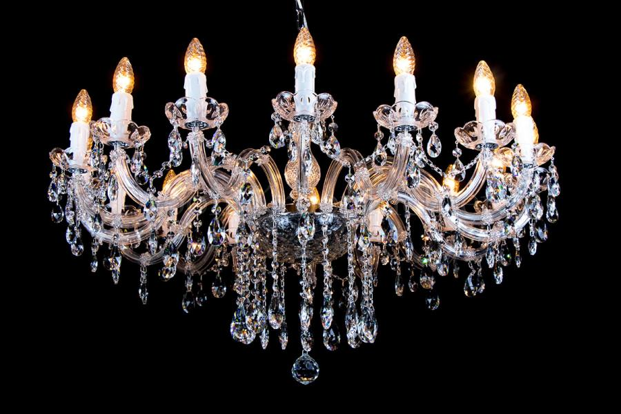 Crystal Chandelier Maria Theresa in chrome 16 lights - Ø95cm
