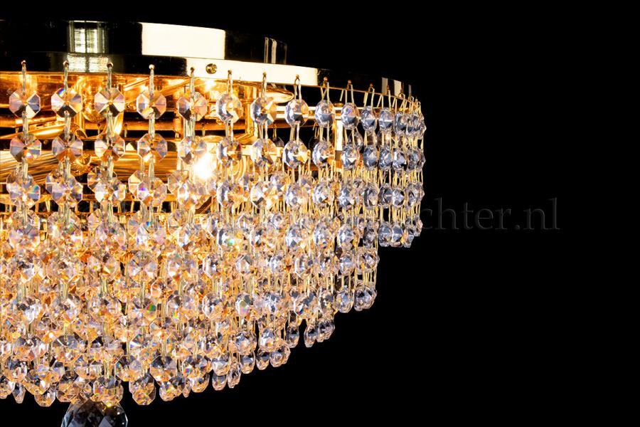 Ceiling lamp Livia 4 lights gold crystal - Ø40cm