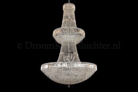 Empire chandelier crystal 44 lights chrome double layer100cm - Livia