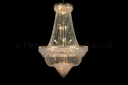 Empire chandelier 34 lights crystal 47 inch (120cm) gold - Salle