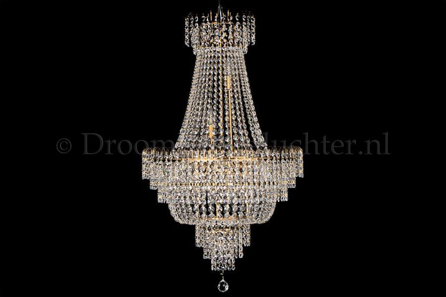 Empire chandelier crystal 23.6 inch (60cm) bronze - Salle