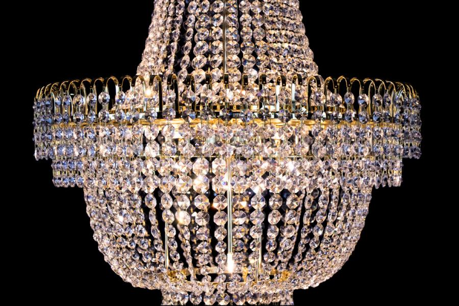 Empire chandelier crystal 23.6 inch (60cm) gold - Salle