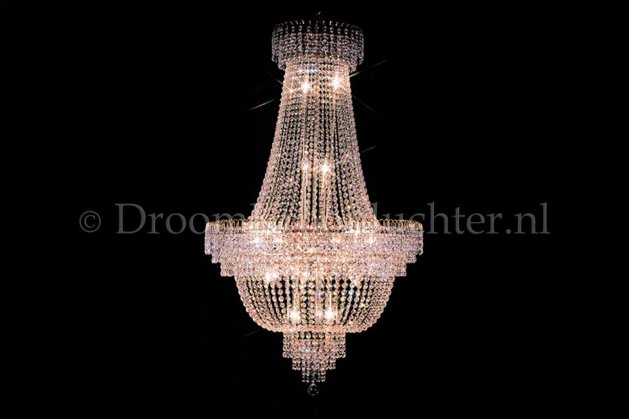 Empire chandelier 19 lights crystal 31.5 inch (80cm) gold - Salle