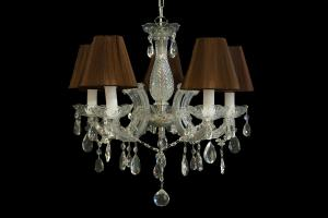 Chandelier Maria Theresa 5 light with double fabric Organza brown shades