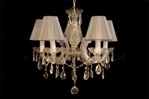 Chandelier Maria Theresa 5 light with double fabric silver Organza shades
