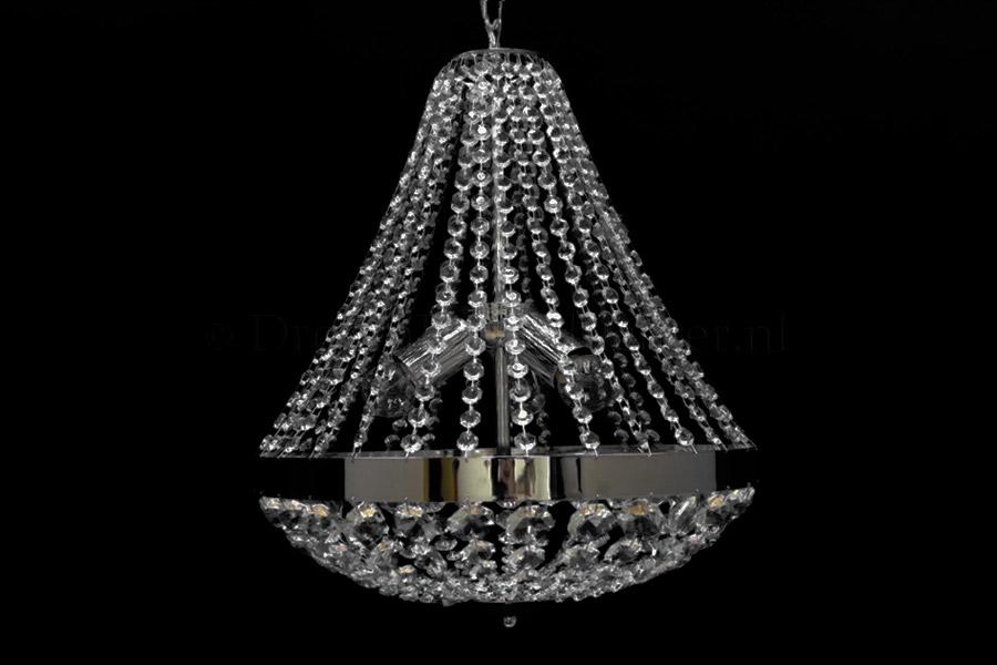 Zakkroonluchter Impero 3 lichts (glas/chroom) - Ø40cm