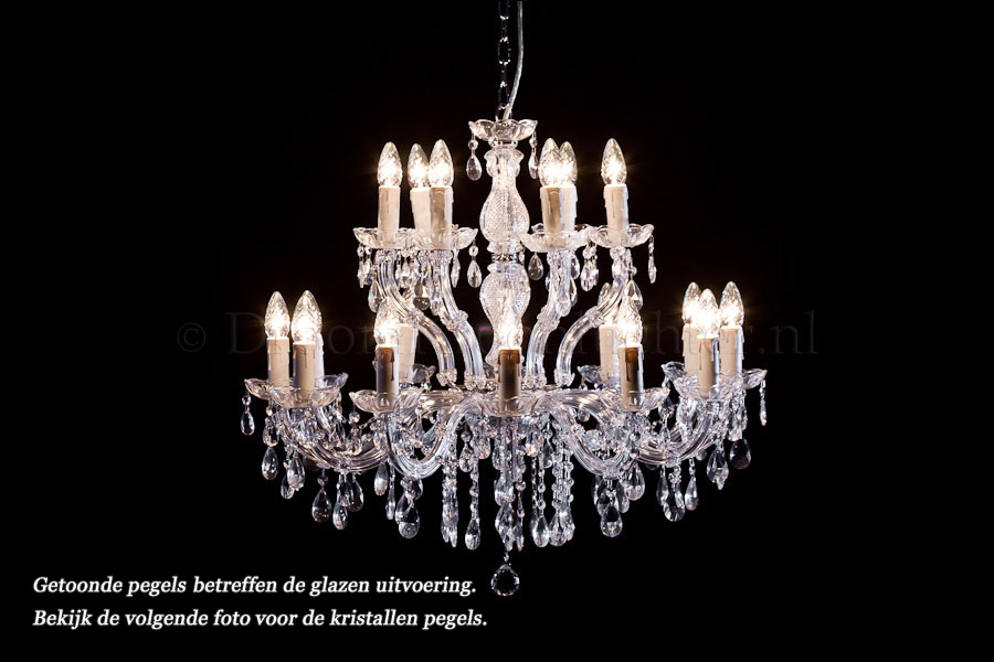 Crystal Chandelier Maria Theresa in chrome 18 lights - Ø75cm