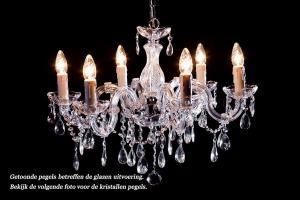 Crystal Chandelier Maria Theresa 6 light S-arm (chrome)