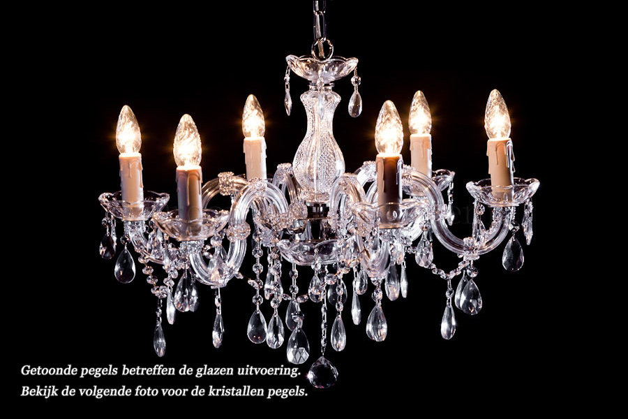 Crystal Chandelier Maria Theresa in chrome 6 lights - Ø60cm