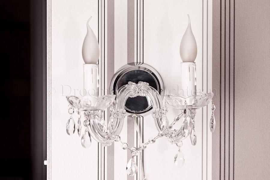 Wandlamp Maria Theresa 2 lichts (glas/chroom) - 20cm
