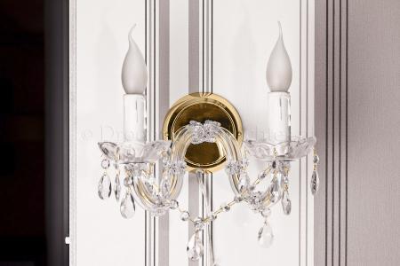 Wandlamp Maria Theresa 2 lichts (glas/messing) - 20cm
