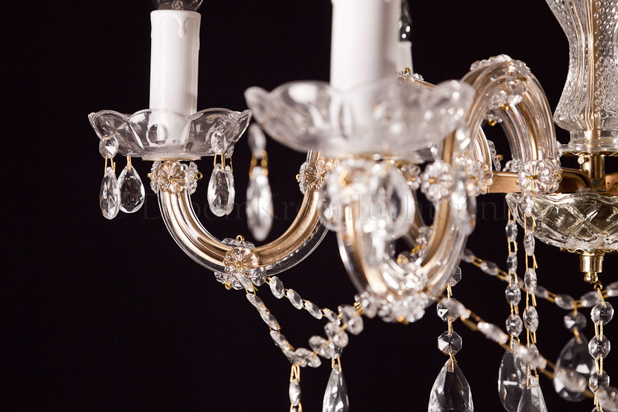 Crystal Chandelier Maria Theresa in gold 6 lights - Ø60cm