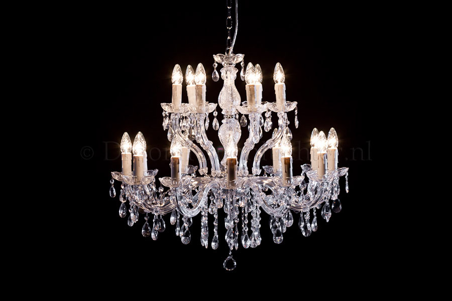 Kroonluchter maria theresa 12 6 lichts glas chroom for Kristallen kroonluchter schoonmaken
