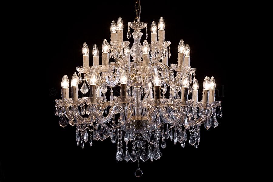 Kroonluchter Maria Theresa 28 lichts (glas/messing) - Ø95cm