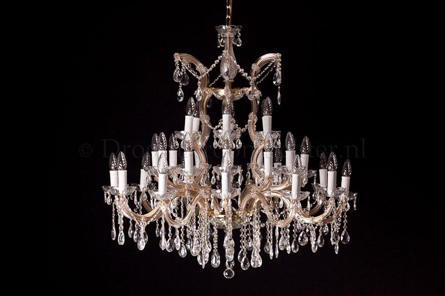 Kroonluchter Maria Theresa 30 lichts (glas/messing) - Ø90cm