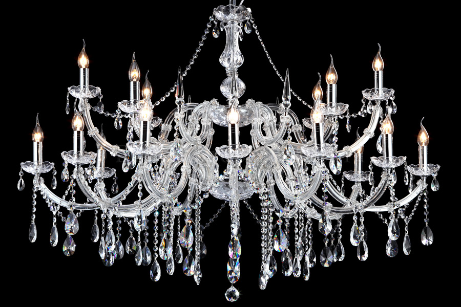 Crystal Chandelier Maria Theresa 12+6 light ovaal (chrome)