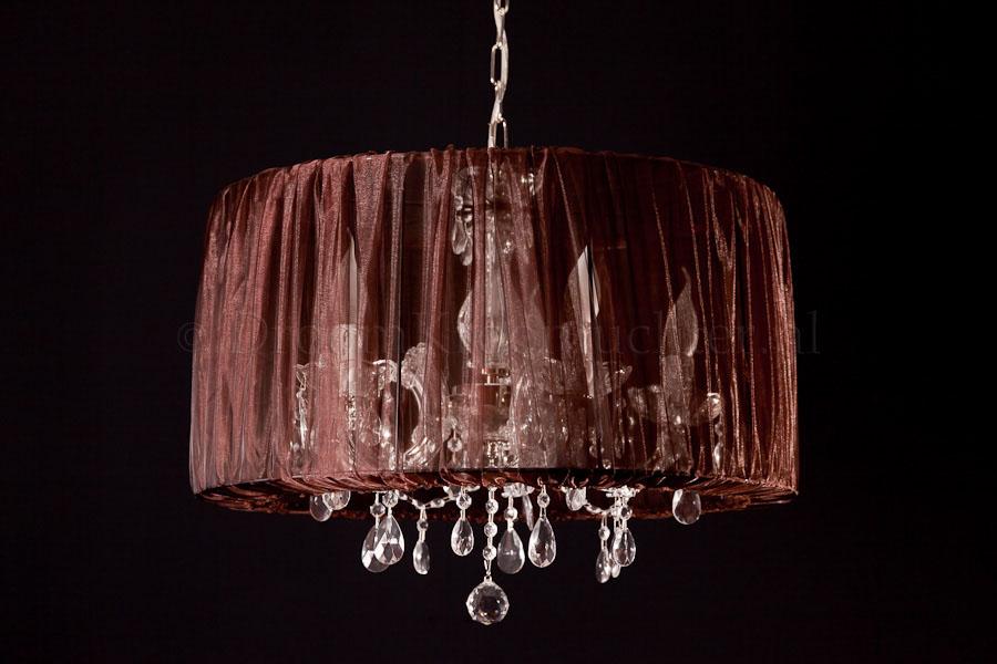 Chandelier Maria Theresa 5 light with Organza dark brown
