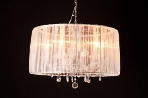 Chandelier Maria Theresa 5 light with Organza white