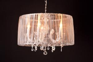 Chandelier Maria Theresa 5 light with Organza silver
