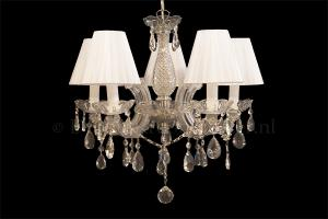 Chandelier Maria Theresa 5 light with double fabrice white Organza shades