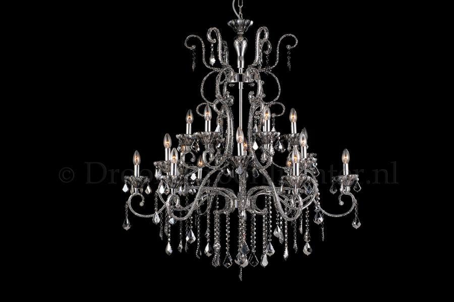 Kristallen kroonluchter tamiya 18 lichts kristal chroom for Kristallen kroonluchter schoonmaken