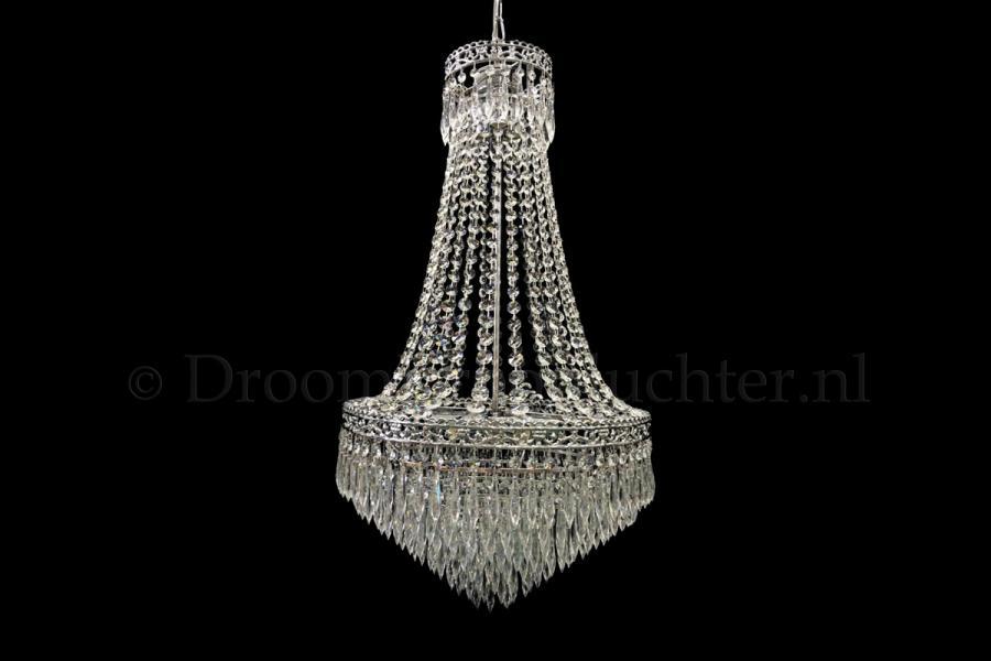 Zakkroonluchter Claire 9 lichts (kristal/chroom) - Ø48cm