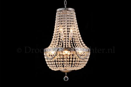 Empire chandelier Firmeno 6 light 40cm crystal silver