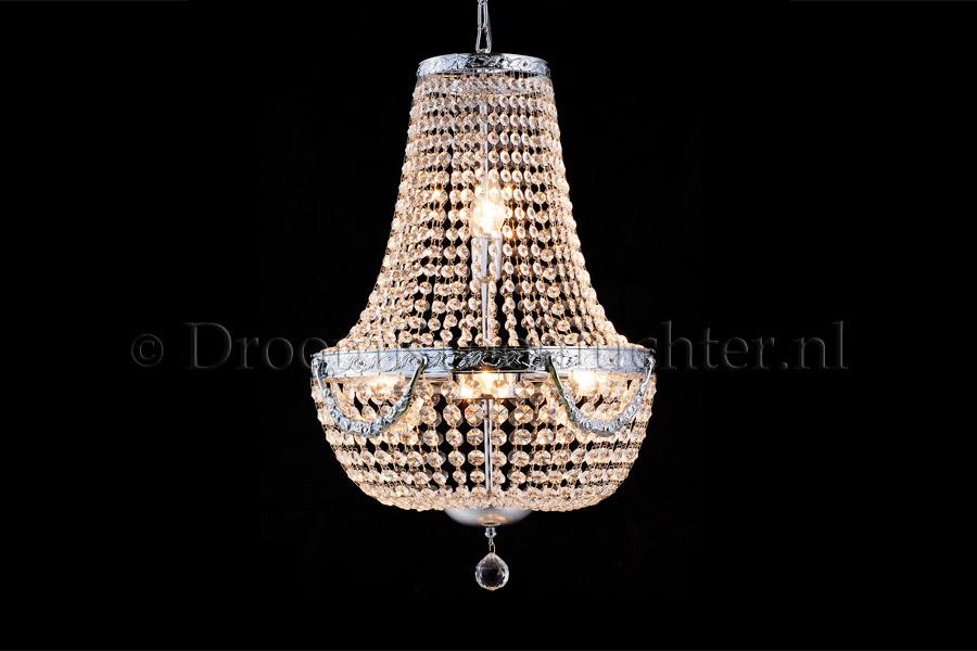 Zakkroonluchter Firmeno 6 lichts (kristal/chroom bewerkt) - Ø40cm