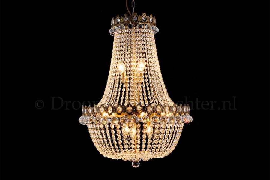 Zakkroonluchter Royale 12 lichts (kristal/goud) - Ø60cm