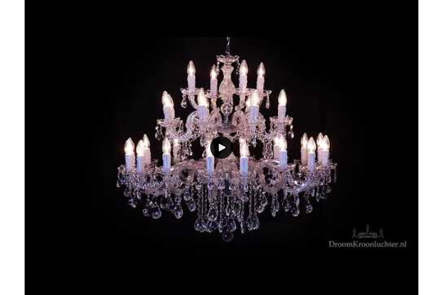 Kristallen Kroonluchter Maria Theresa 28 lichts (kristal/chroom) - Ø95cm